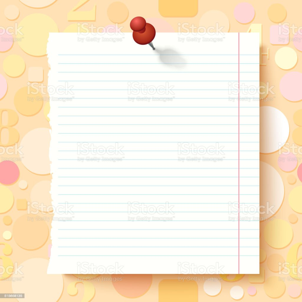 Empty Exercise Book Paper Sheet on Light Background vector art illustration
