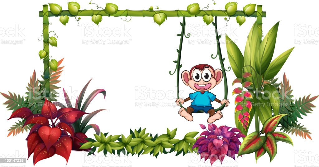 Empty frame made of bamboo with a monkey royalty-free empty frame made of bamboo with a monkey stock vector art & more images of advertisement