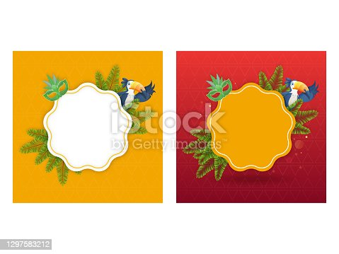 istock Empty Frame With Carnival Mask, Fir Leaves And Toucan Bird Decorated Background In Two Color Options. 1297583212