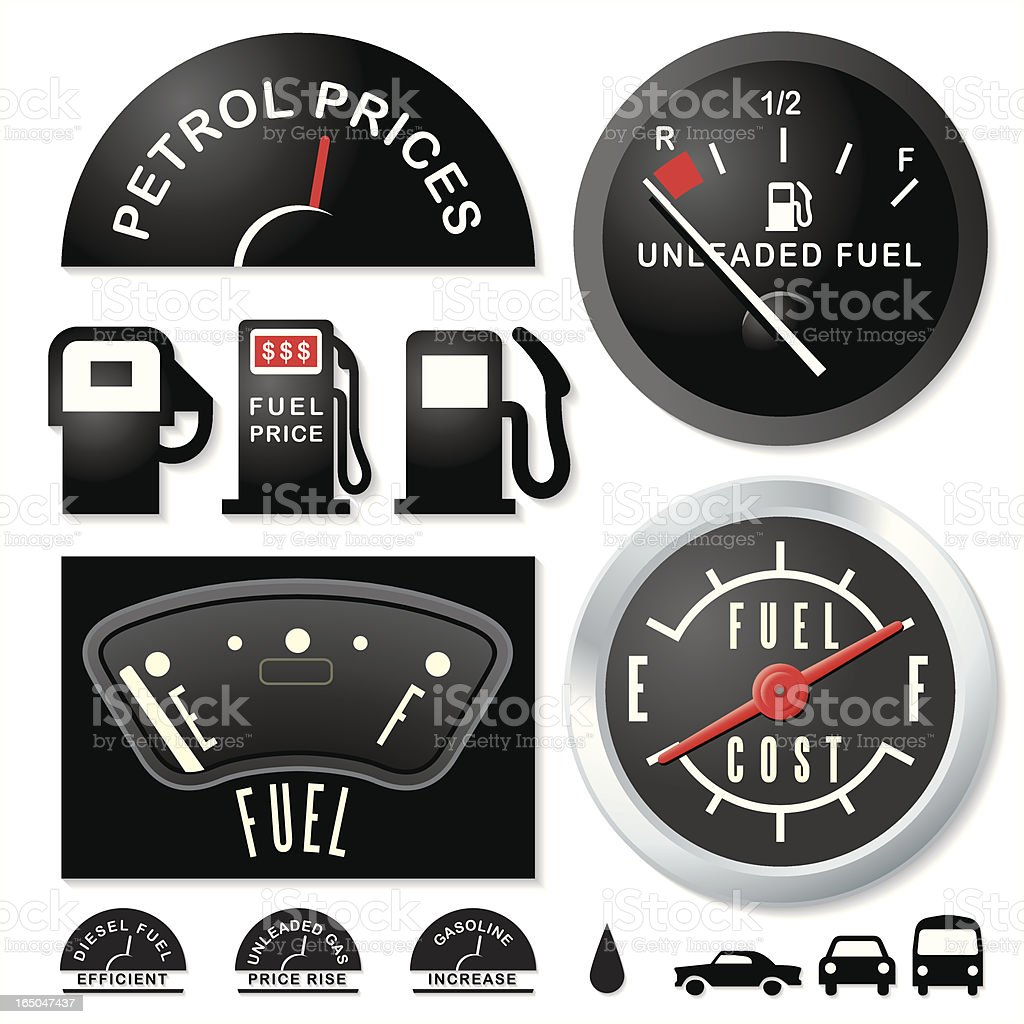 Empty Fuel Guages royalty-free stock vector art