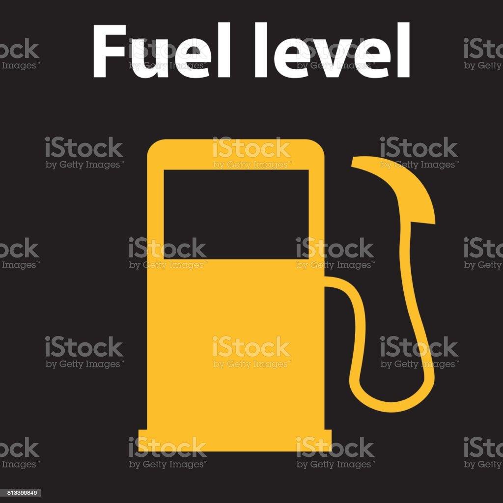 Empty Fuel Warning Light In Car Dashboard Vector Illustration