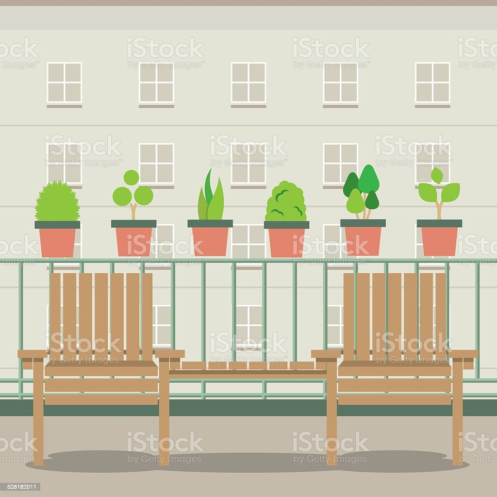 Empty Garden Chairs At Balcony vector art illustration