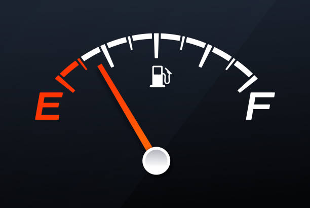 illustrazioni stock, clip art, cartoni animati e icone di tendenza di empty gas tank gauge - benzina
