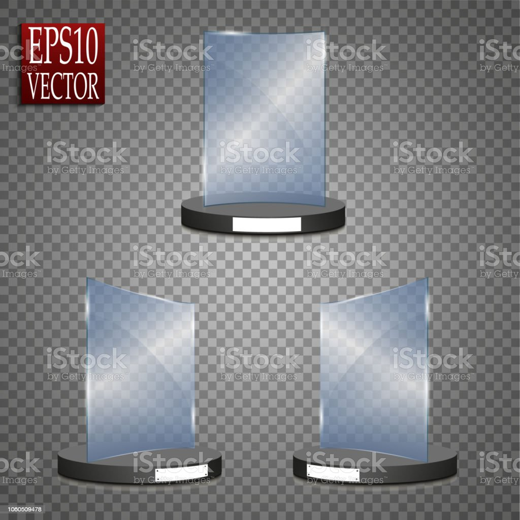 empty glass award isolated transparent trophy template vector