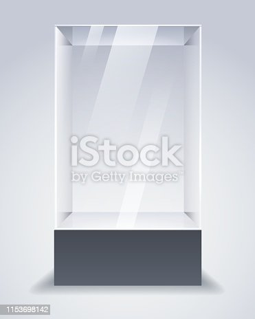 Glass cabinet. Vector empty showcase, museum glass box or store product transparent cube