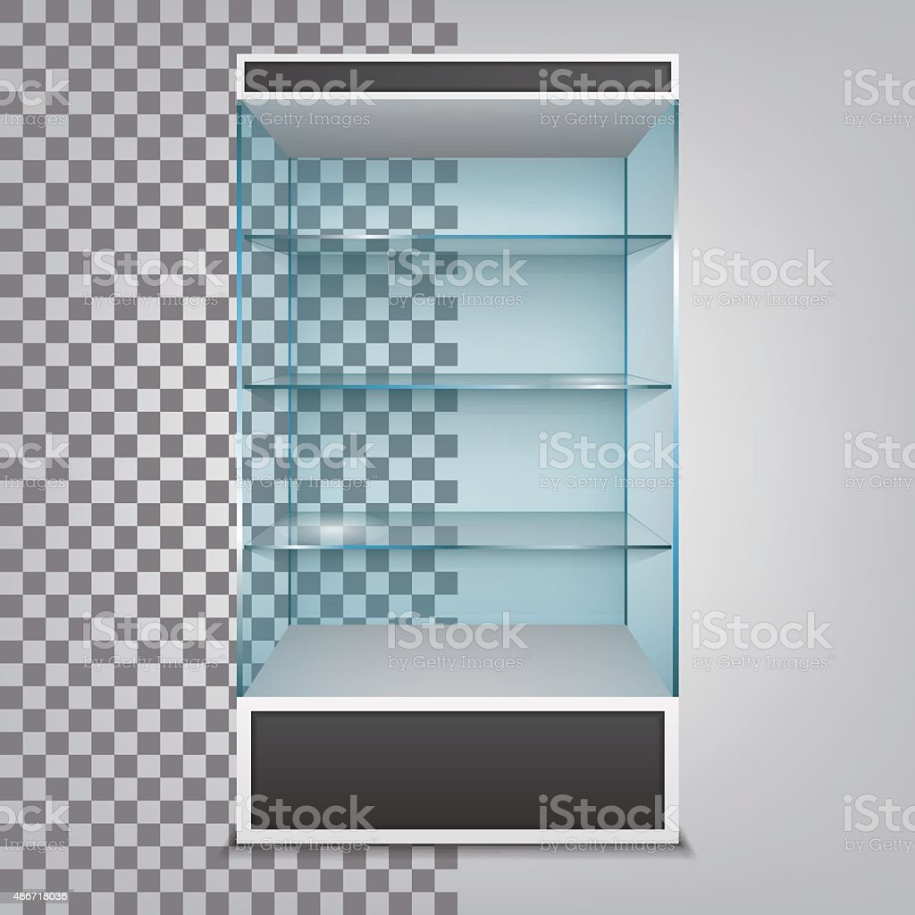 Empty glass cabinet with shelves. Vector Illustration vector art illustration
