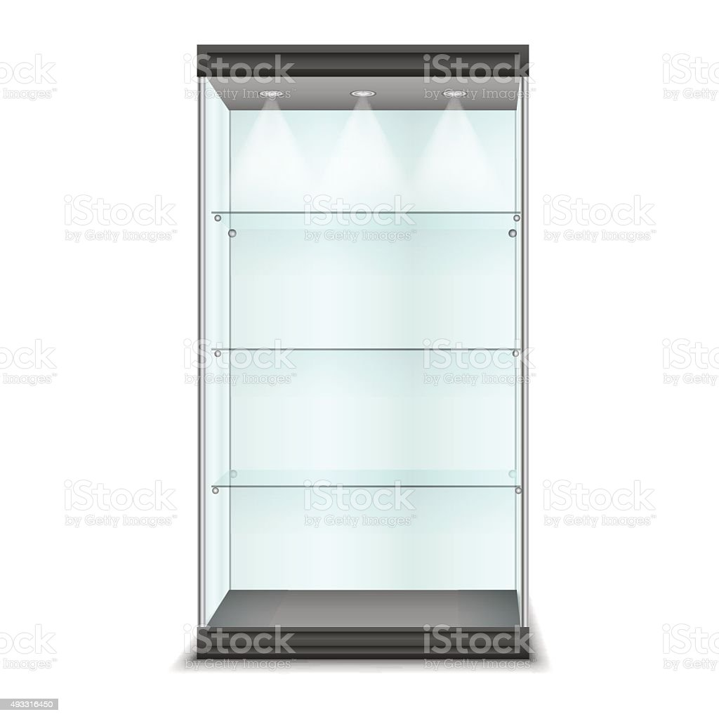 Empty glass cabinet with shelves, vector vector art illustration