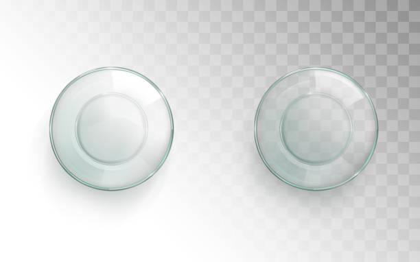 Leere Glas Tasse Top-Ansicht, glasig für Wasser-Set – Vektorgrafik