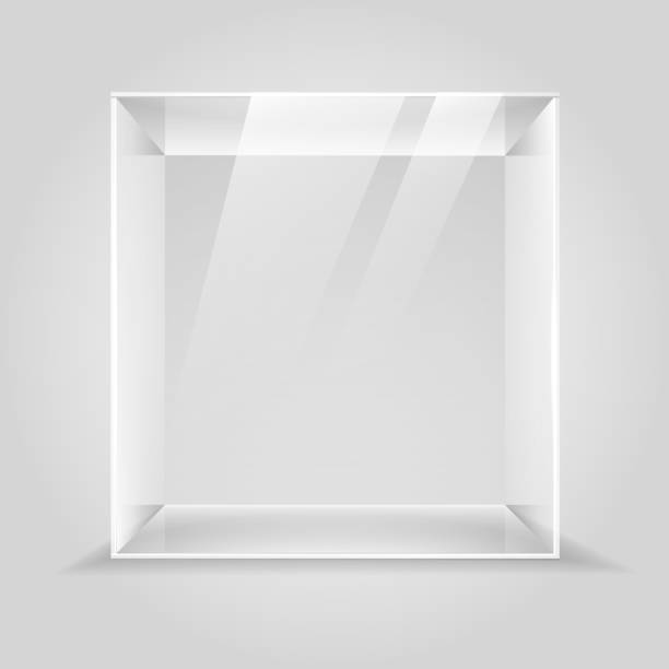 Empty glass display box Glass showcase. Empty glass display box, 3d museum lighting cube illustration, transparent product shop or gallery presenting podium cube shape stock illustrations