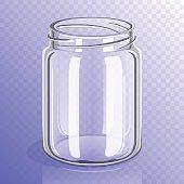 Empty glass jar mockup isolated