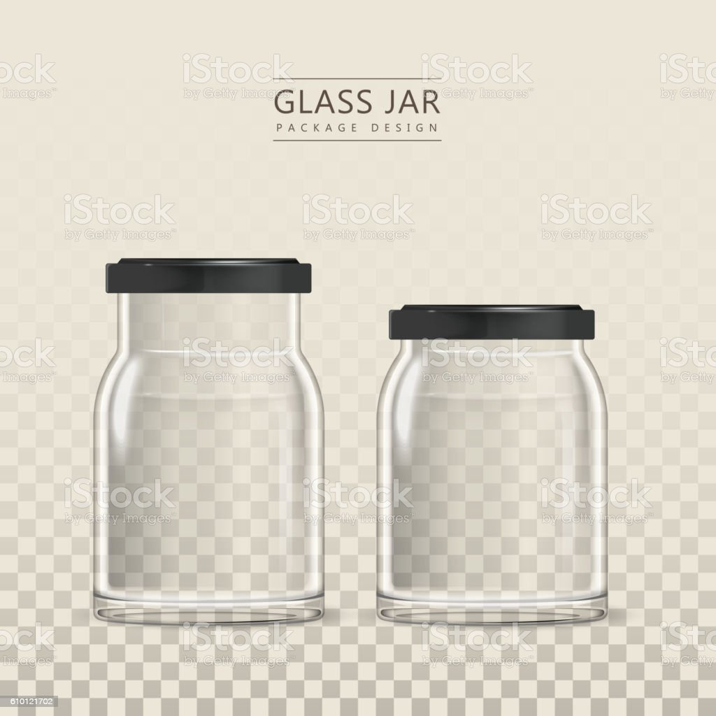 Empty glass jar template vector art illustration