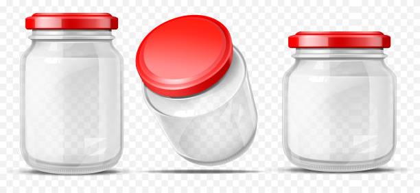 ilustrações de stock, clip art, desenhos animados e ícones de empty glass jars for sauces realistic vector - jam jar