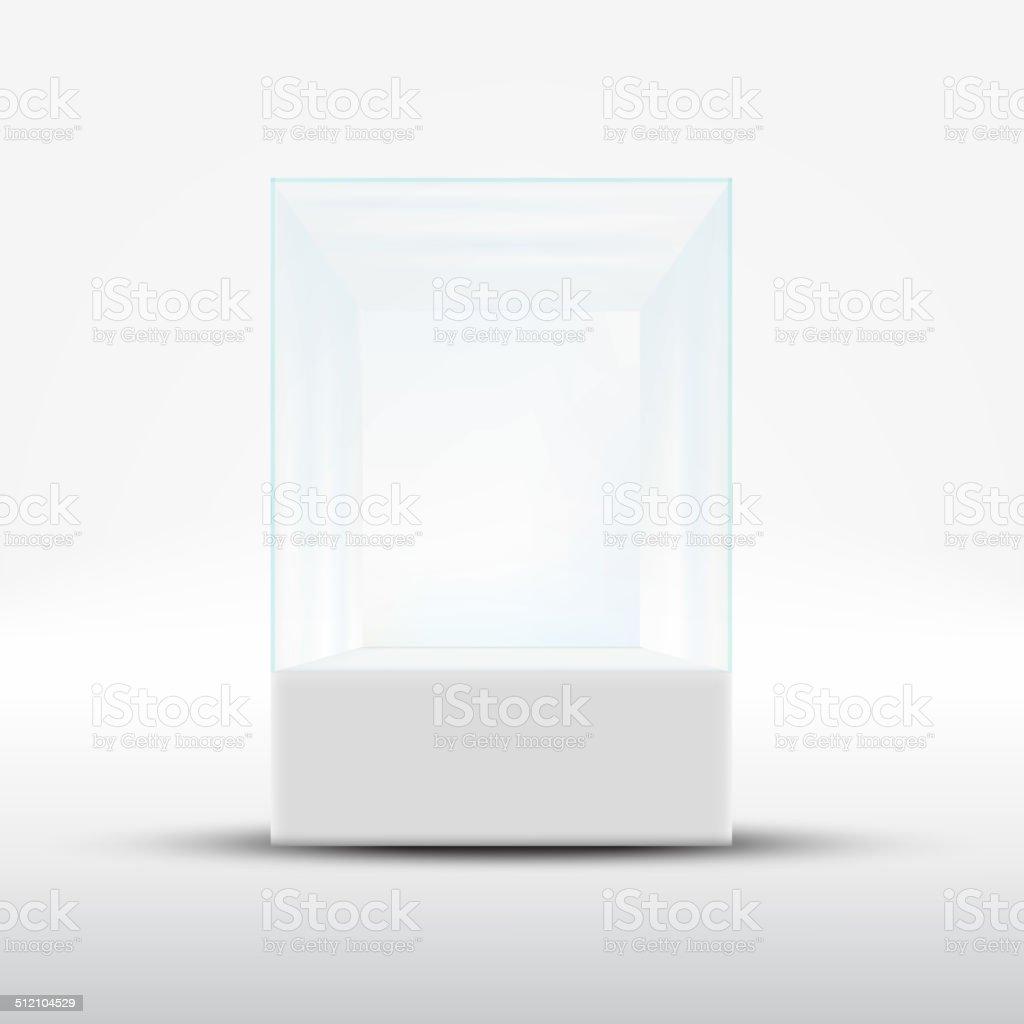 Empty glass showcase for exhibit isolated on white background vector art illustration