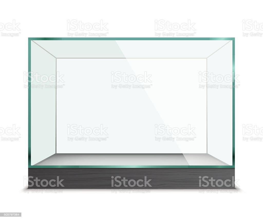 Empty glass showcase for exhibit vector art illustration