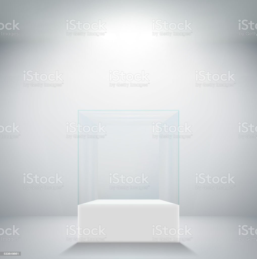Empty glass showcase for exhibit vector art illustration