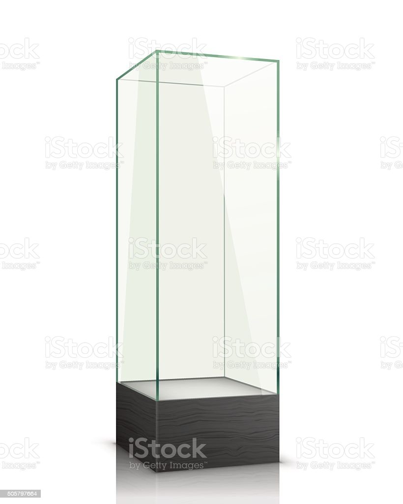 Empty glass showcase. vector art illustration
