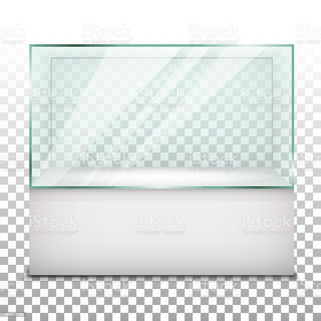 Empty glass showcase. Vector Illustration vector art illustration