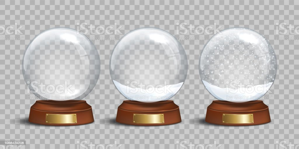 empty glass snow globe and snow globes with snow on transparent