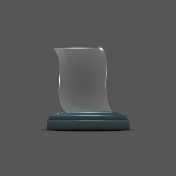 Empty Glass Trophy Awards Vector Art Illustration
