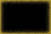 Empty gold frame on black background for use as a design element.