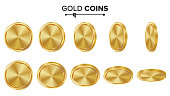 Empty Gold Coins Vector Set. Realistic Template Illustration. Flip Different Angles. Blank Money Front Side. Investment Concept. Finance Coin Icon, Sign, Success Banking Cash Symbol