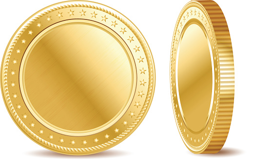 Empty golden finance coin on the white background