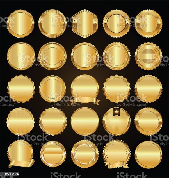 Empty golden retro labels and badges golden vector collection