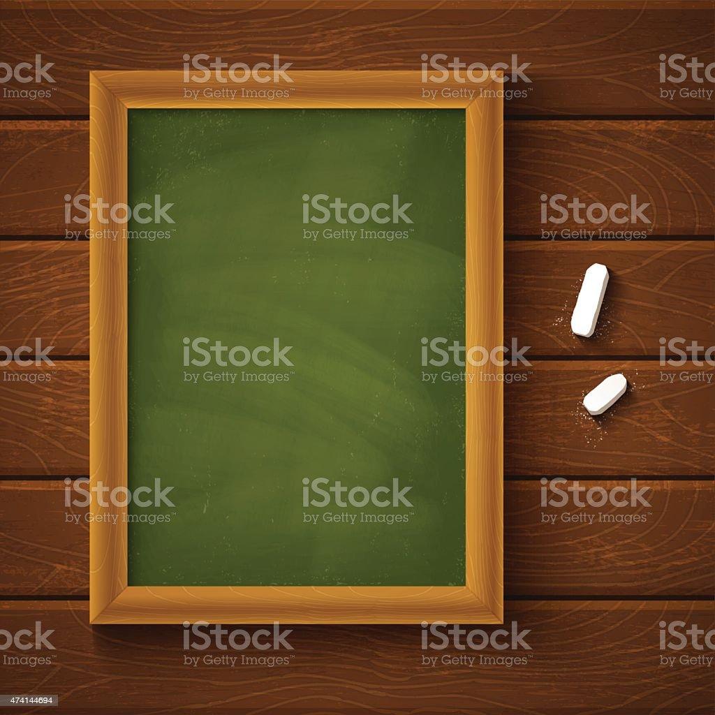 Empty green chalkboard and chalk
