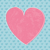 Empty greeting card template with hand drawn hearts. Valentine's Day concept. Vector