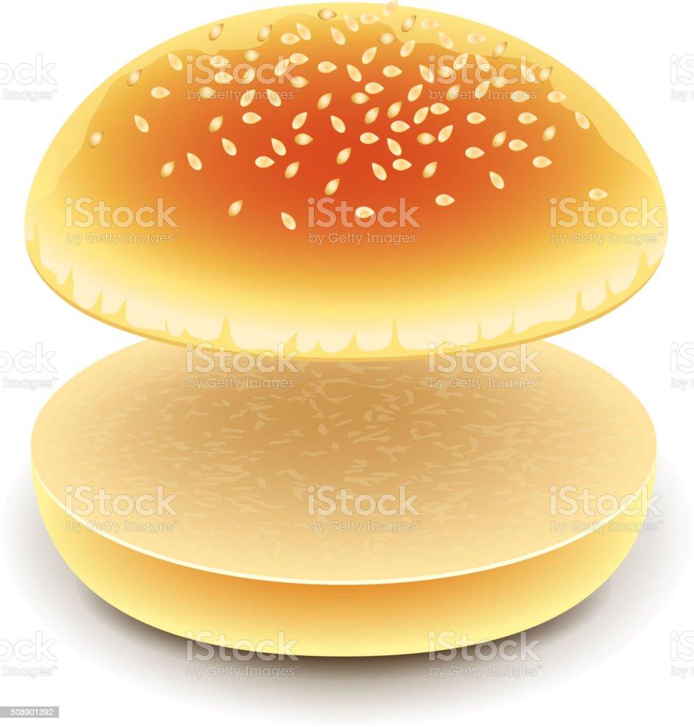 Empty hamburger isolated on white vector vector art illustration