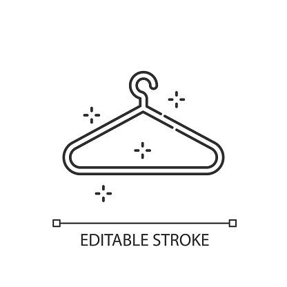 Empty hanger pixel perfect linear icon. Hang clothes. Garment storage. Housekeeping symbol. Thin line customizable illustration. Contour symbol. Vector isolated outline drawing. Editable stroke