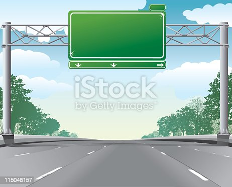 Empty highway scene With green Blank Overhead Directional Road Sign hanging over highway on metal post. The highway has no cars.  The overhead sign has copy space.  The highway scenery has green trees along the edge of road and blue clouds in sky.