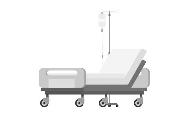 bildbanksillustrationer, clip art samt tecknat material och ikoner med töm sjukhussängen. medicinsk utrustning. isolerad vektor - sjukhusavdelning
