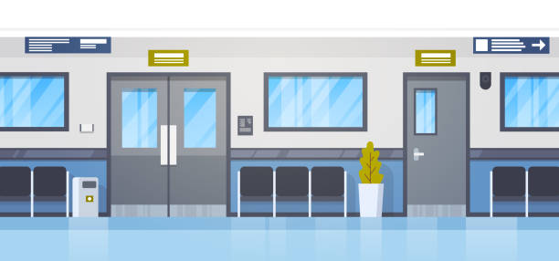 Empty Hospital Clininc Hall With Seats And Door Corridor Empty Hospital Clininc Hall With Seats And Door Corridor Flat Vector Illustration hospital background stock illustrations