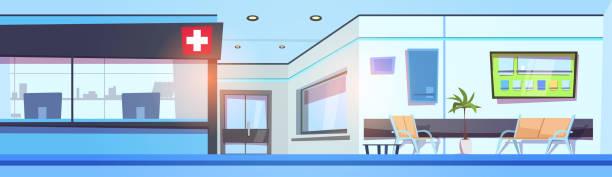 leere krankenhaus halle innere klinik wartezimmer horizontale banner - rezeptionseingang stock-grafiken, -clipart, -cartoons und -symbole