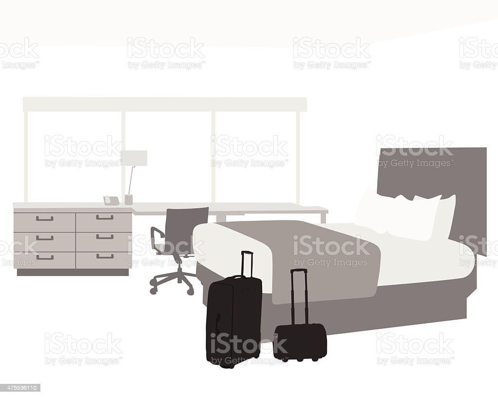 Empty Hotel Room vector art illustration