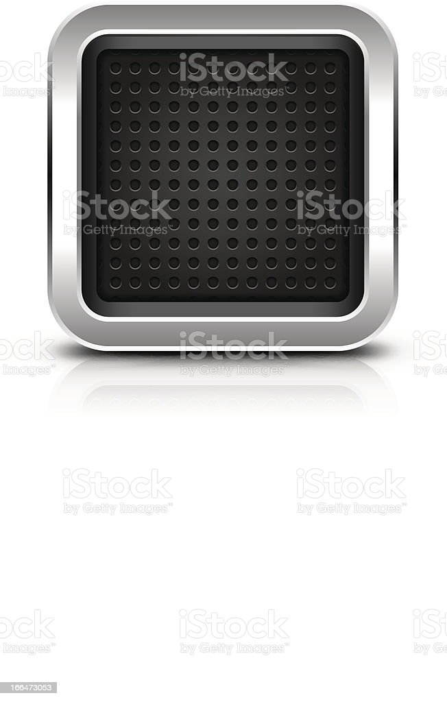 Empty icon chrome button perforation metal black background shadow reflection royalty-free stock vector art