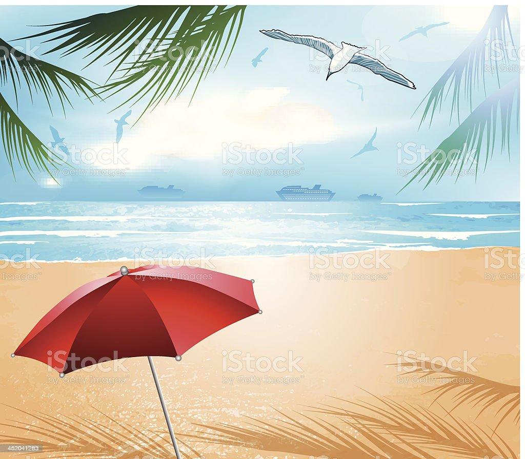 empty idyllic tropical sand beach royalty-free stock vector art