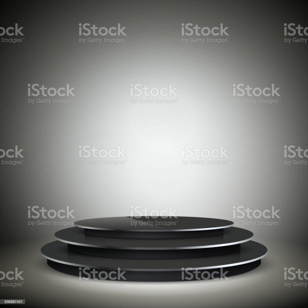 empty illuminated black podium vector art illustration