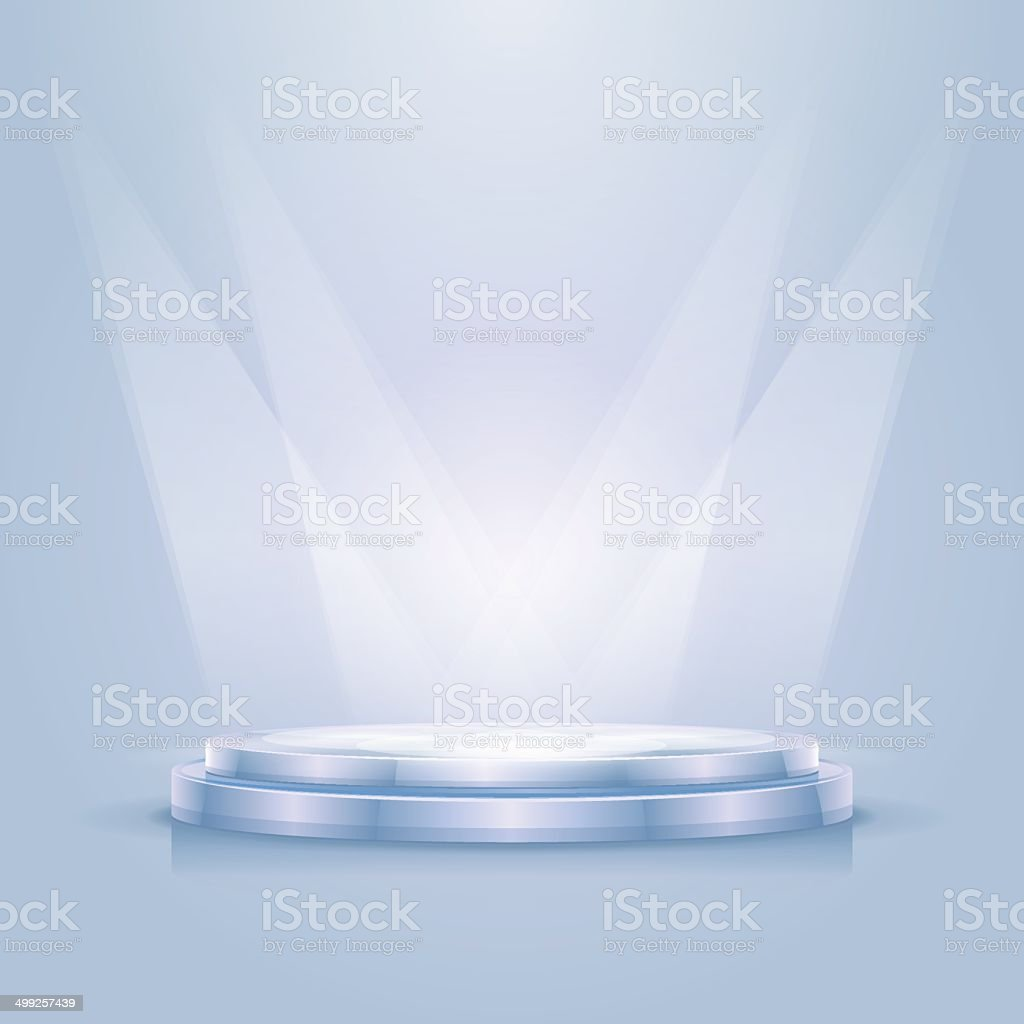 Empty illuminated podium vector art illustration