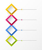 Empty infographic layout with colorful rhombus icons. Vector.