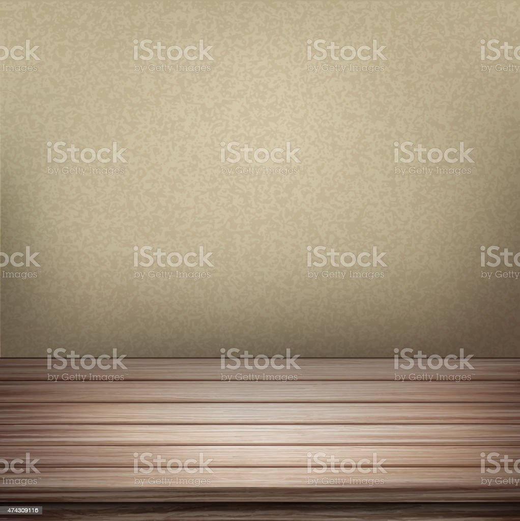 empty interior wall with wooden table vector art illustration