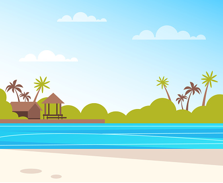 Empty Island Beach Summer Time Travel Vacation Concept