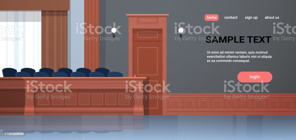 empty jury box seats modern courtroom interior justice and...
