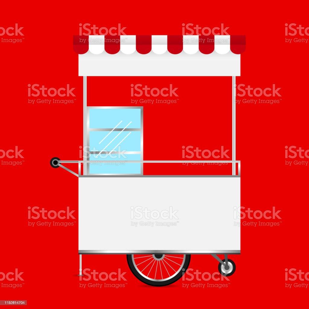 empty kiosk red background, template blank of kiosk wheels cart stock...