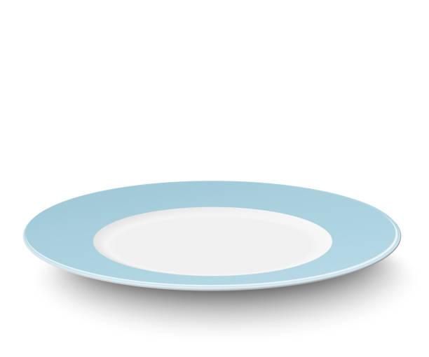 ilustraciones, imágenes clip art, dibujos animados e iconos de stock de placa azul luz vacía aislada sobre fondo blanco - plate