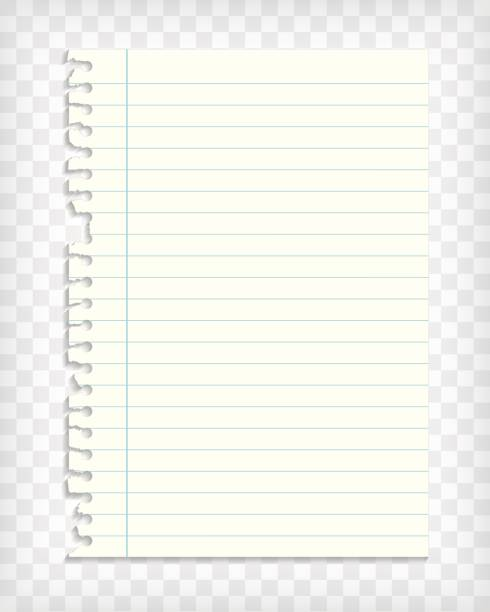 empty lined note book page with torn edge - lined paper stock illustrations