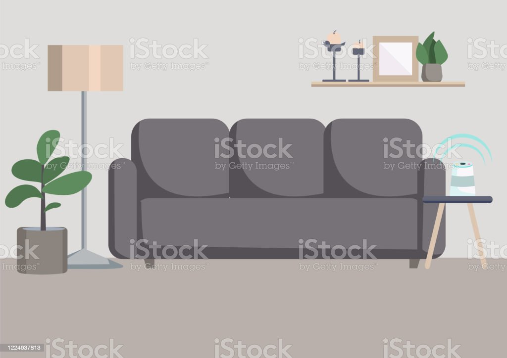 Empty Living Room Flat Color Vector Illustration Stock Illustration Download Image Now Istock