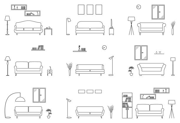 空のリビング ルームのアイコンを設定します。概要家具シルエット背景 - ソファ点のイラスト素材/クリップアート素材/マンガ素材/アイコン素材
