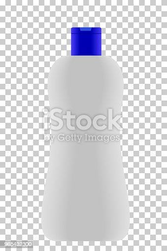 Empty Lotion Bottle Blue Cap At Transparent Effect Background Stock Vector Art & More Images of Bathroom 965432300